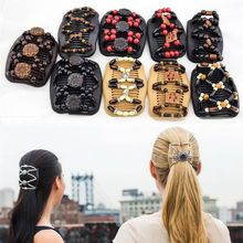 1 PCS Hot Selling Women Girls Easy Magic Wooden Beads Double Hair Comb Clip Stretchy Updo Accessories Ethnic