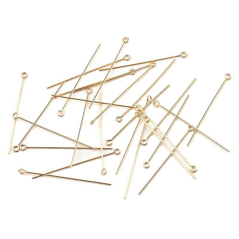 Bir çift 25.4mm 38.1mm 50.8mm 14K altın dolgulu göz başkanı pimleri ve iğneler küpe yapımı için DIY takı bulguları aksesuarları 6 boyutları