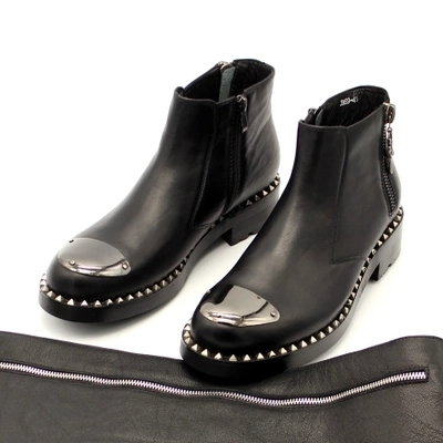 EuropeanAmerican Thick-soled Big Leather Boots Double Zipper Slip-on Silver Head Rivets Boots  Black Casual Shoes Size34-45