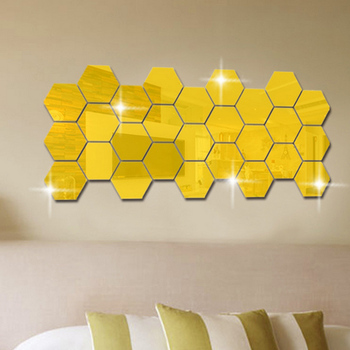 12Pcs 3D Mirror Hexagon Vinyl Removable Wall Sticker Decal Home Decor Art DIY Hot Sale 8
