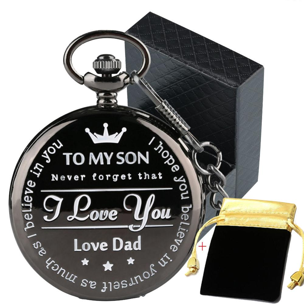 To My Son, I Love You, Love Mom/Dad Series Quartz Pocket Watch Graduation Birthday Gifts For Boy Retro Black Pendant Clock