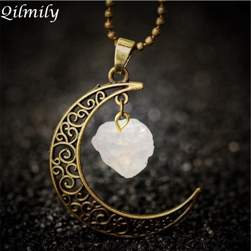 Vintage Moon Necklace Irregular Natural Stone Quartz Pendant Necklaces Multi-color Crystals Antique Bronze Chains Jewelry Gifts