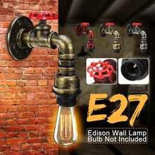 60W Retro Industrial grifo de agua diseño de la lámpara de pared luz interior dormitorio sala de estar rojo/plata/cian-azul hierro lámpara Base AC110-220V