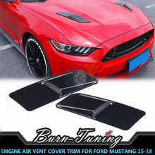ABS Engine Air Vent Cover Trim For Ford Mustang GT GT350 GT500 2015-2018 Car Styling Decor Parts Engine Hood Air Outlets Cover(China)