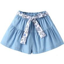 Girls denim shorts 2021 new baby summer children's thin cotton culottes 4148 09