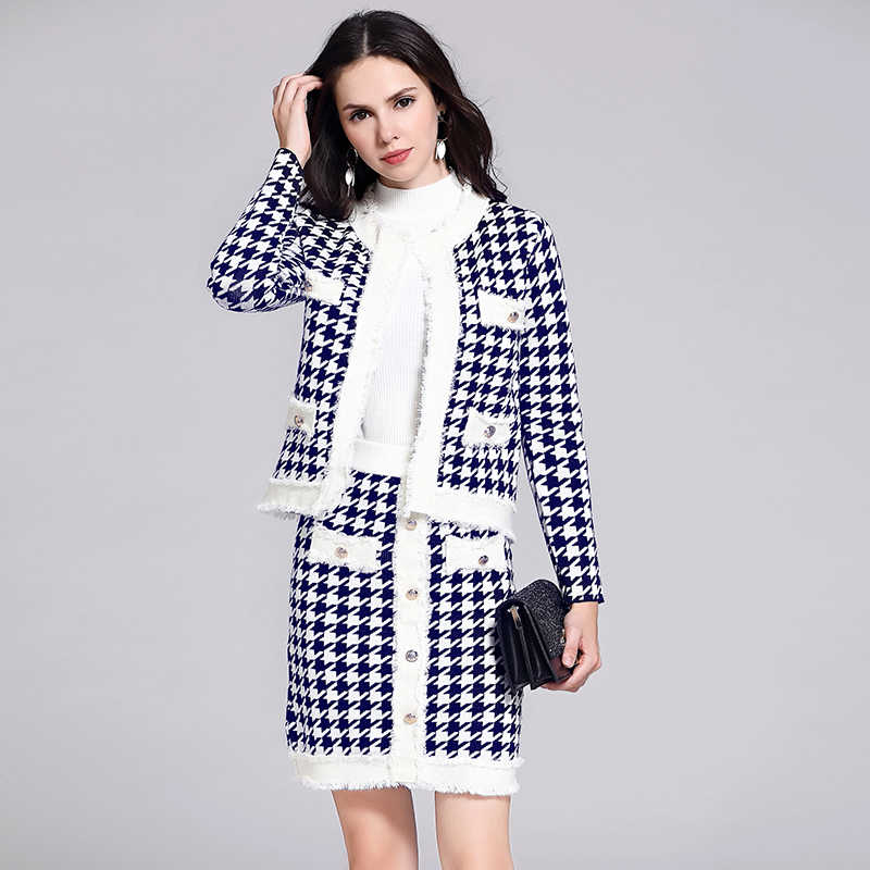VERHELLEN Two Piece Set Women 2019 Autumn Women's Long Sleeve Houndstooth Button Sweater Knitted Cardigan and Skirt Suit Sets