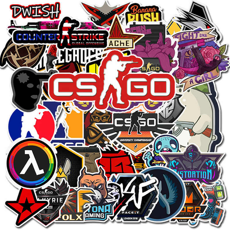 10/30/50PCS CS GO PVC Waterproof Children Stickers Skateboard Guitar Suitcase Motorcycle Funny Graffiti Sticker Kids Classic Toy