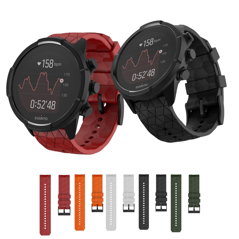 Soft Silicone Watchband For SUUNTO 9 Baro Strap 24mm Width Replacement Silicone Wristband For SUUNTO Spartan/9 Baro Copper Strap