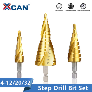 цена на Xcan 3pcs 4-12/20/32mm HSS Spiral Grooved Center Drill Bit Solid Carbide Mini Drill Accessories Titanium Step Cone Drill Bit