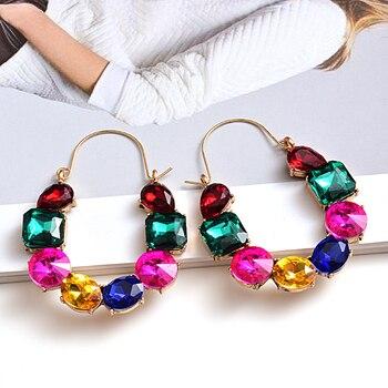 Colorful Rhinestones Crystals Circular Earrings  3