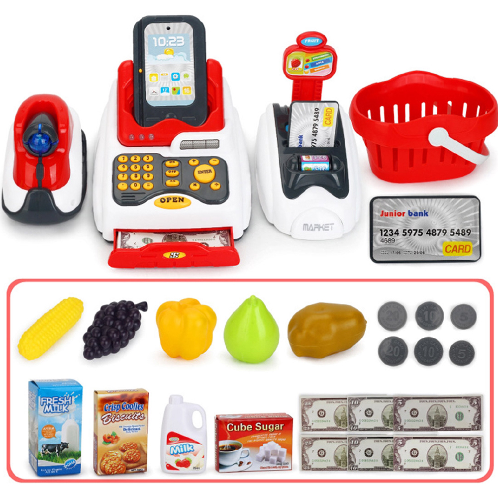 Role Supermarket Children Cash Register <font><b>Toy</b></font> Funny House Simulated Model Miniature <font><b>Cashier</b></font> Kids Pretend Play Learning Educational image