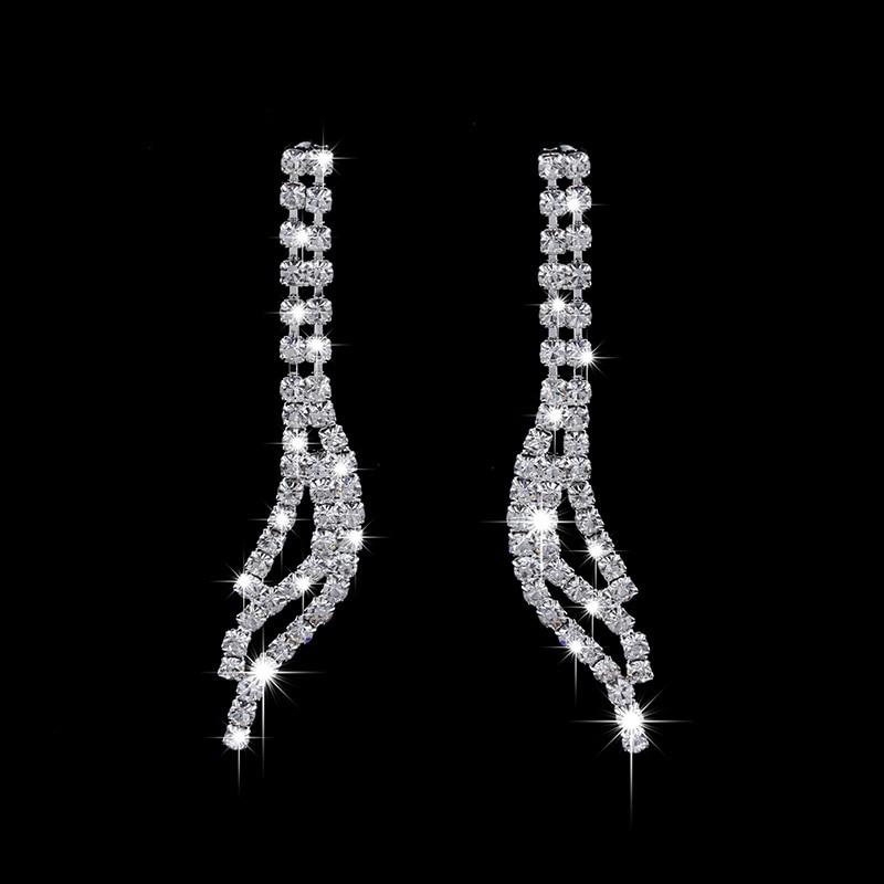 Shiny Elegant Femme Rhinestone Wedding Jewelry Sets Bridal Women Long Tassel Necklace Earrings Jewellery Set Accessories Gift