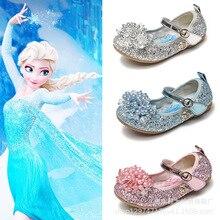 Kids Summer Crystal Shoes Fashion Frozen Elsa Sandals Sweet Bow Children Ballet Flats For Girls Baby Disney Princess Shoes