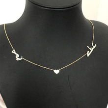 Two Arabic Name Necklace With Heart Islamic Jewelry Custom Necklaces for Women Men Customized Choker Chain Bijoux Femme
