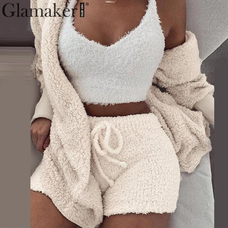 Glamaker Knit sexy two piece set short   jumpsuit   & romper Women autumn soft warm playsuit Winter female solid body suit overalls
