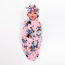Newborn Baby Swaddle Wrap Blanket Hat Set Infant Flower Floral Soft Cotton Sleep Sack Cloth With Rabbit Ears Cap