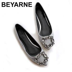 Image 1 - BEYARNEผู้หญิงPUสิทธิบัตรหนังรองเท้าแฟชั่นpointed Toeคริสตัลเพชรผู้หญิงสบายๆรองเท้าส้นแบน