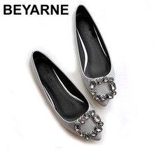 BEYARNE Women flats PU patent leather shoes New fashion pointed Toe crystal diamond  Women casual flat heel shoes
