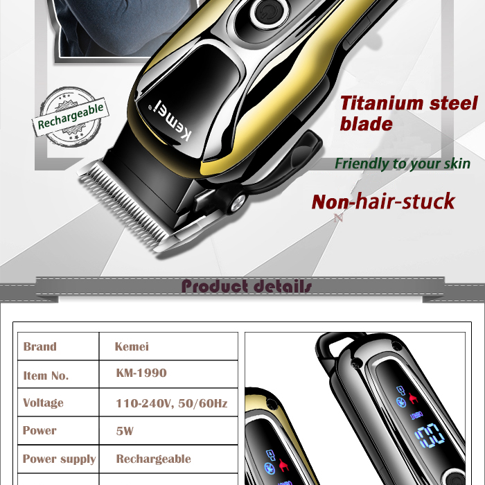 Image 3 - 100 240V kemei rechargeable hair trimmer professional hair clipper hair cutting beard electric razor hair shaving machineHair Clippers   -