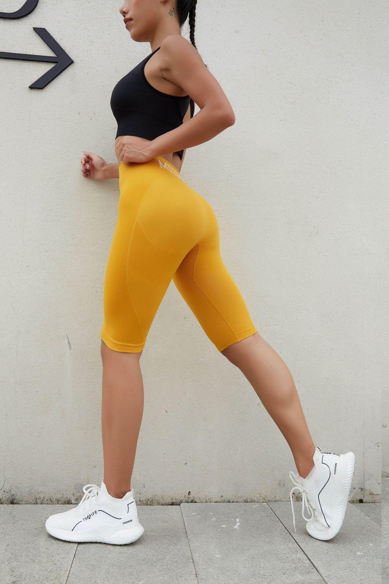 Calça leggings esportiva sem costura feminina, crop