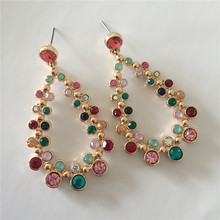 2019 New Trend Gold color Multi Gem Rhinestone Tear Drop shap Dangle Earrings  Bling for Women Gift