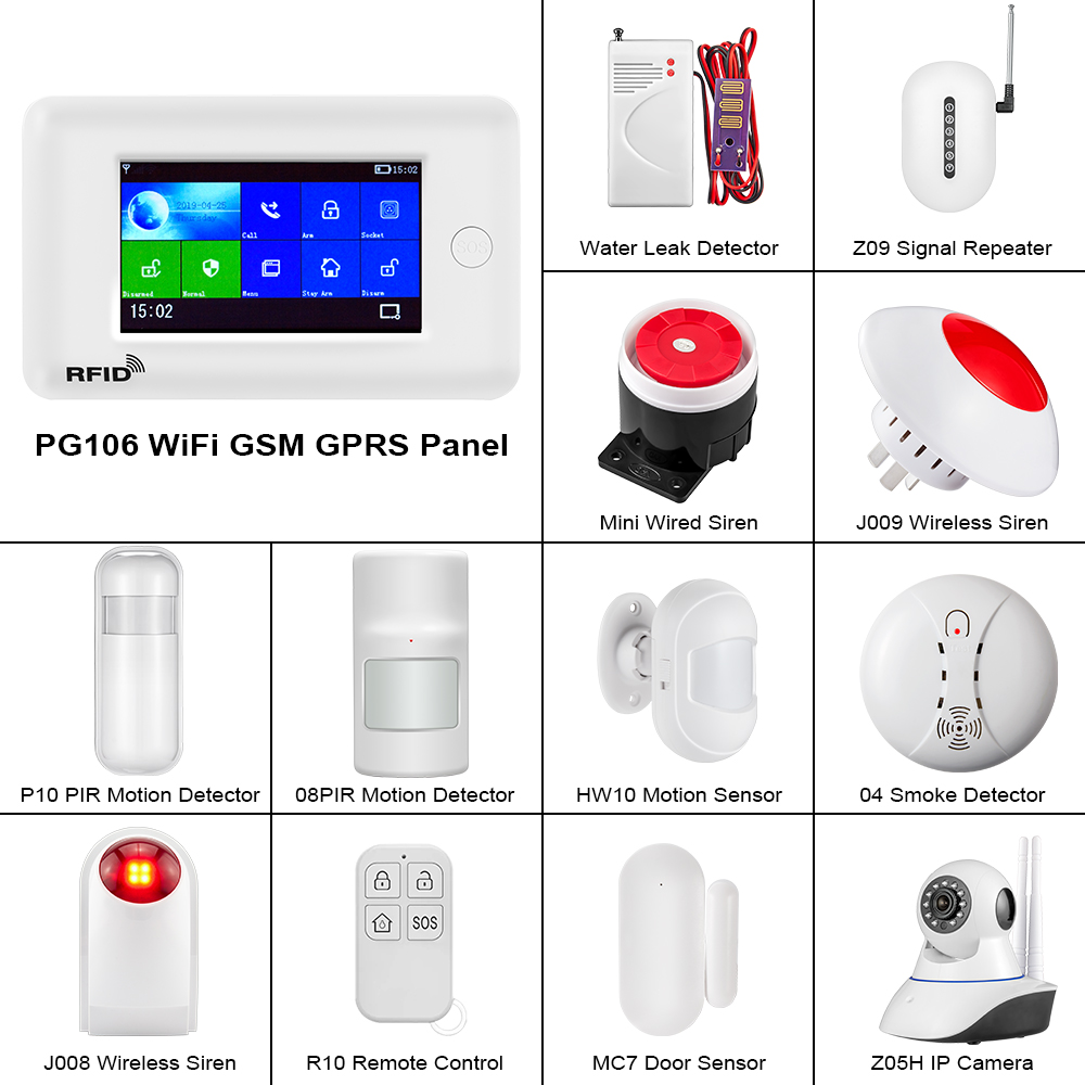 FUERS PG106 WIFI GSM 3G Alarm System Home Security PIR Motion Detector Wireless Door/Window Sensor Smoke Detector Alarm System