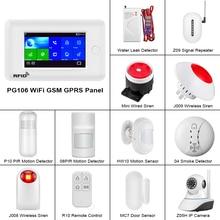 цена на FUERS PG106 WIFI GSM 3G Alarm System Home Security PIR Motion Detector Wireless Door/Window Sensor Smoke Detector Alarm System