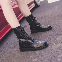 Купить с кэшбэком freeshipping 2019 Spring Autumn new women shoes Solid middle tube thick heel side zipper lacing fashion wild trend Martin boots