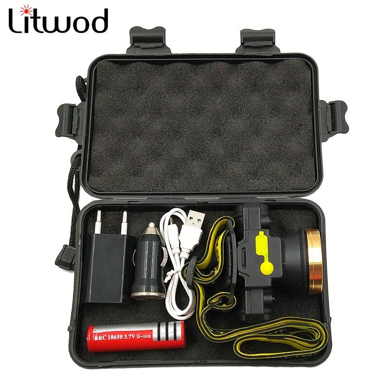 Litwod Z209010 LED Motion IR Sensor Head Light Headlamp Headlight Rechargeable Flashlight Head Torch Lamp For Huntting Light