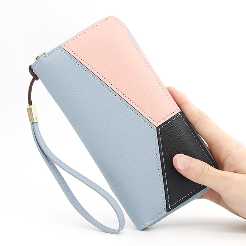 Geometric Women Clutch Pink Wallets Phone Pocket Purse Card Holder Patchwork Women Long Wallet Lady Fashion Short Coin Purse