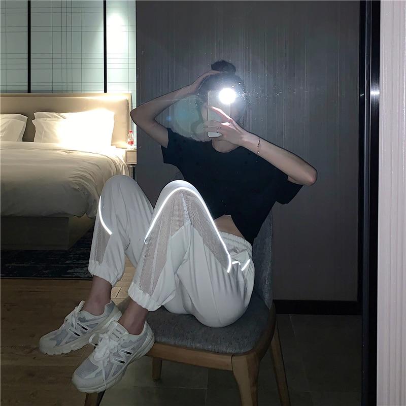 2020 Summer High Waist Patchwork Noctilucent Pants Women Sweat Pants