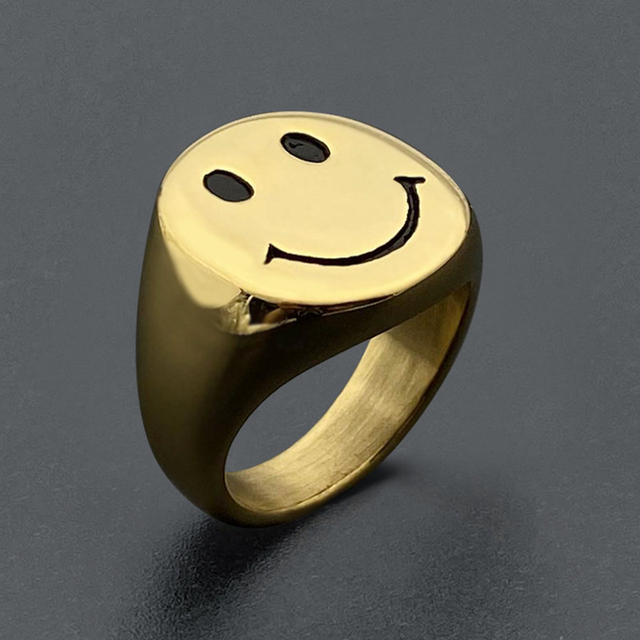 2020 New Style Gold Color Stainless Steel Rings for Women Retro Antique Smiley Finger Ring Party Jewelry Gifts Free Shipping