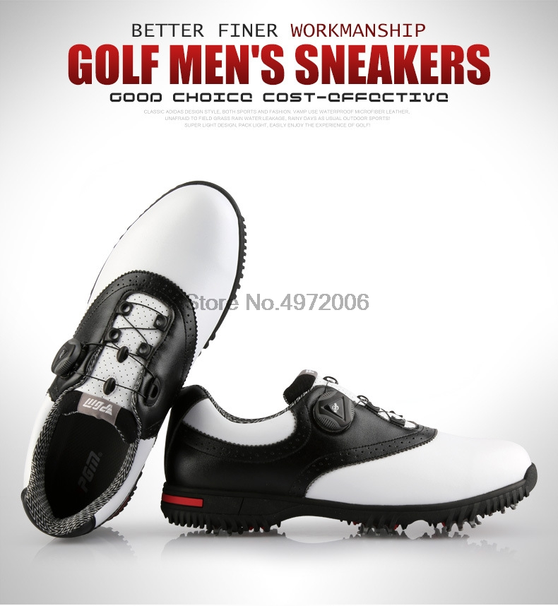 Pgm homens sapatos de golfe de couro