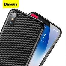 Baseus ses kılıfı için iPhone X 10 Capinhas PC ve TPU Data Sync hızlı şarj müzik çağrı Aux adaptörü bölücülerin iphone x kılıf için çapa