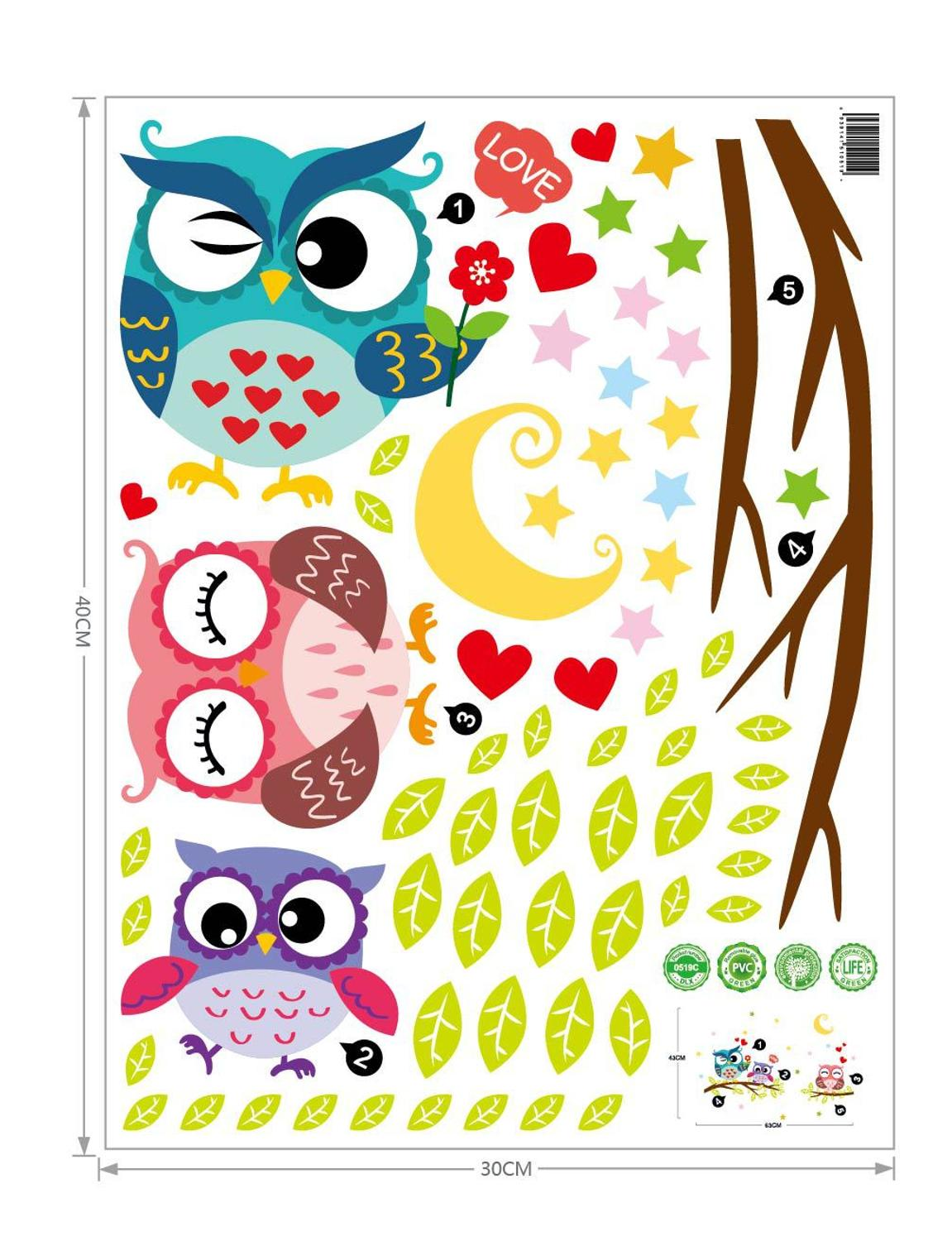 Wallpaper Sticker Happy Removable Waterproof Cartoon Animal Owl Wall Sticker Kids Home Decor Wallpapers For Living Room 6