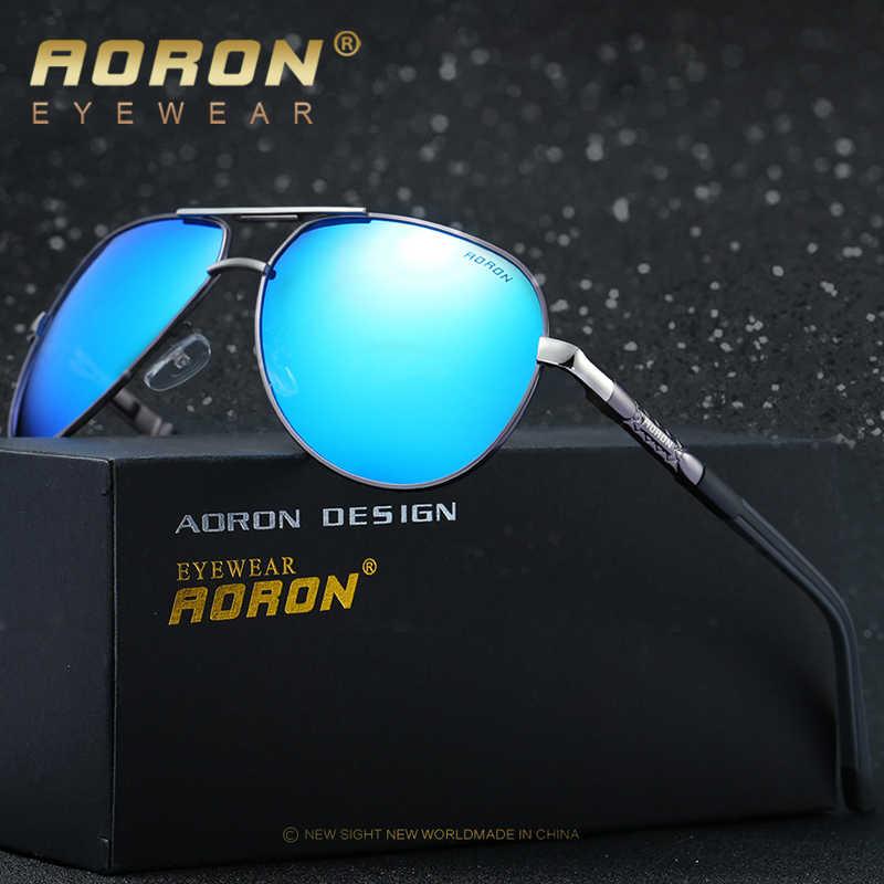 AORON okulary przeciwsłoneczne męskie polaryzacyjne okulary przeciwsłoneczne oprawki ze stopu UV400 okulary przeciwsłoneczne klasyczne Pilot lustro okulary szerokość 150mm