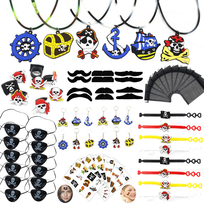Pirate Party Favors Kids Pirate Stickers Keychain Rings Halloween Christmas Gift Toys Pirate Birthday Party Supplies Decor