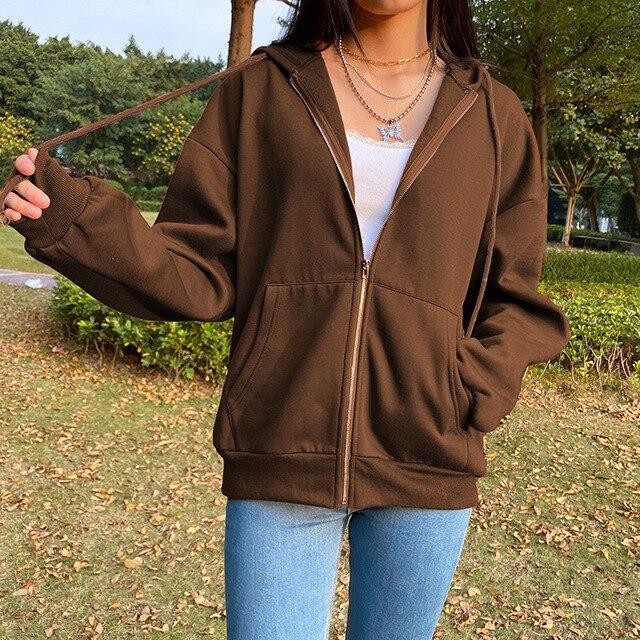 BiggOrange Brown Zip Up Sweatshirt Winter Jacket Clothes oversize Hoodies Women plus size Vintage Pockets Long Sleeve Pullovers 2