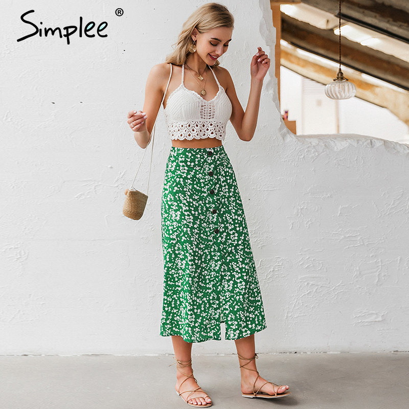 Simplee Buttons Floral Print Women Skirt High Waist Spring Summer Female Midi Skirts Holiday A-line Ladies Skirts Bottoms 2020