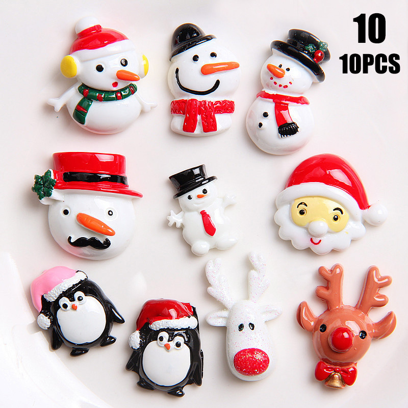 10pcs Christmas Decoration Socks Deer Xmas Santa Claus Scarf Resin Ornament DIY Toy YH-17