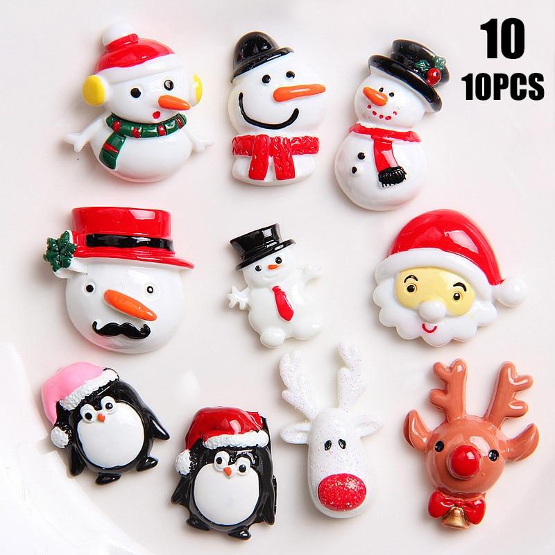 10pcs Christmas Decoration Socks Deer Xmas Santa Claus Scarf Resin Ornament DIY Toy YH-17