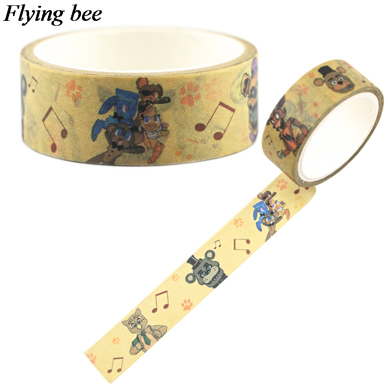 Flyingbee 15mmX5m Horror Doll Washi Tape Paper DIY Decorative Adhesive Tape Cool Tapes Sticker X0690