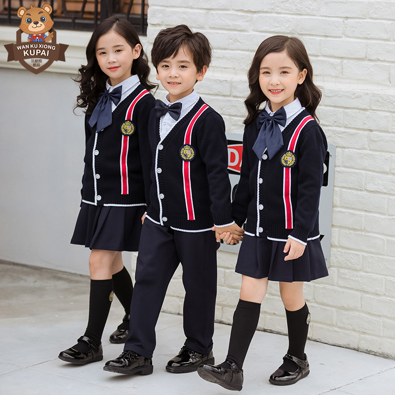 Young STUDENT'S School Uniform Children British Style Sweater Three-piece Set-Kindergarten Suit Spring And Autumn Business Attir