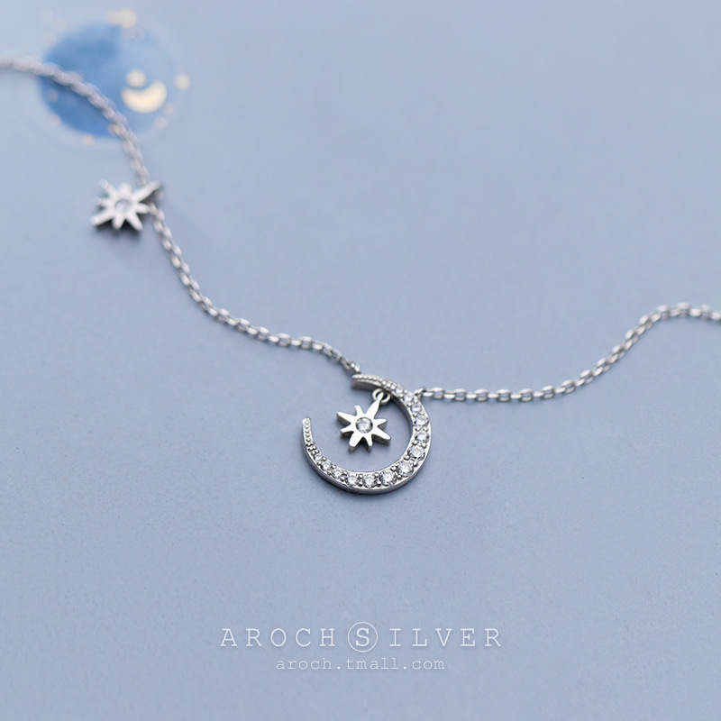 925 Sterling Silver Crescent Moon Star Necklace Choker for Women Crystal Charm High Quality Necklaces Pendants for Girls Kids
