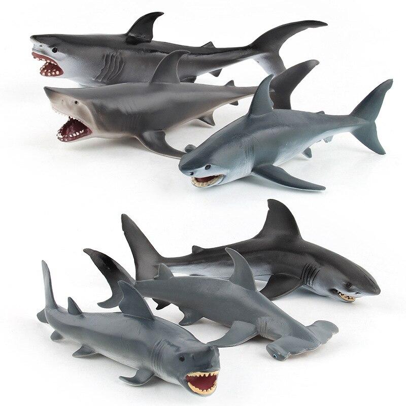 6-Simulated Animal Marine Organism Animal Model Toy Scene Great White Shark Hammerhead Shark Blue Shark