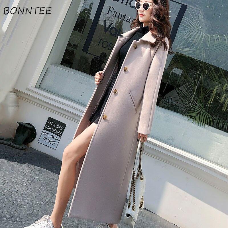 Wool Women Solid Elegant Thicker Slim Turn-down Collar Woolen Coat High Quality Simple Warm All-match Long Coats Womens Fashion