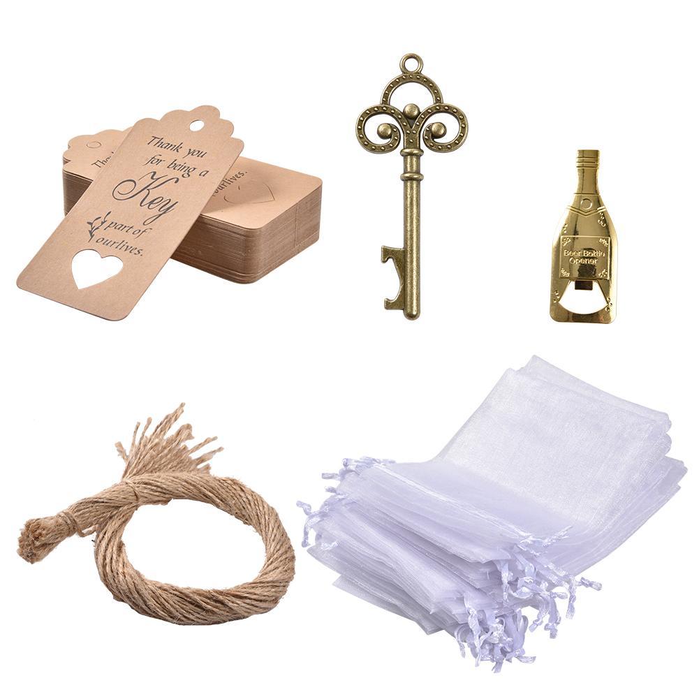 50PCS Opener Beer Vintage Bronze Key Bottle Opener Brown Kraft Paper Gift Tags Wedding Gift For Guests Beer Opener Keychain