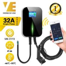 Cargador de coches eléctricos, estación de carga para vehículos, montaje en pared, con WiFi, app, EV, cable de tipo 1, EVSE, SAE J1772, 32A, 1 fase