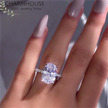 Wedding Rings For Women Lady White Gold Color GP Silver 925 Ring With Big Zirconia Band Engagement Jewelry Accessories