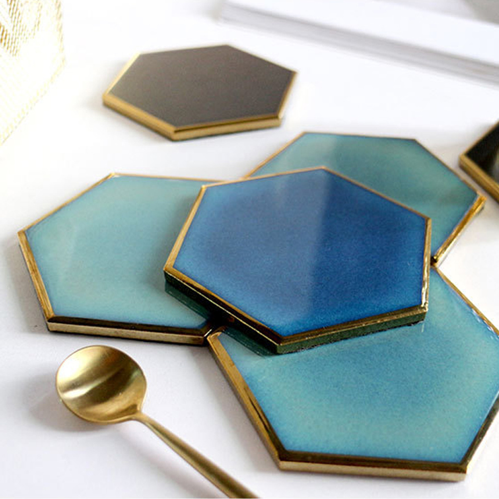 1 PC Nordic Hexagon Gold-plated Ceramic Placemat Heat Insulation Coaster Porcelain Mats Pads Table Decoration